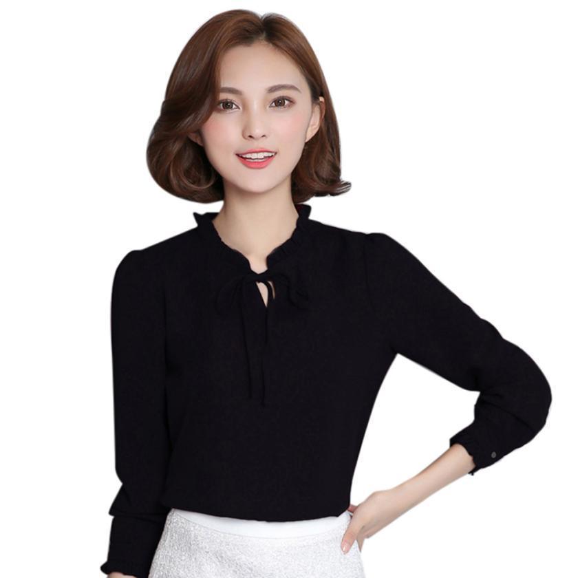 Women's Clothing 2018 Summer New Women Casual Button Long Sleeve Fashion Bow Shirt