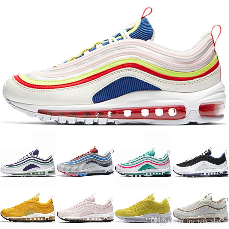 7e9a7bee2e399 Designer 97 Men Women 97s Parra Running Shoes Mustard Yellow Black ...
