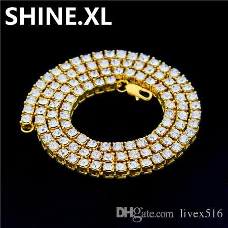 d6e9687ffab9f7 2019 Bling Bling New 1 Row Tennis Necklace/Bracelet 20/22/24 Inch Silver  Finish Lab Created Diamonds 4MM Iced Out Solitaires From Livex516, $13.07 |  DHgate.