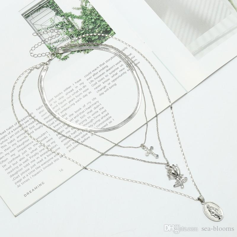 2018 Multilayer Cross Rose Pendants Clavicle Necklace For Women Silver/Gold Chocker Collar Necklace Christmas Gift G379S