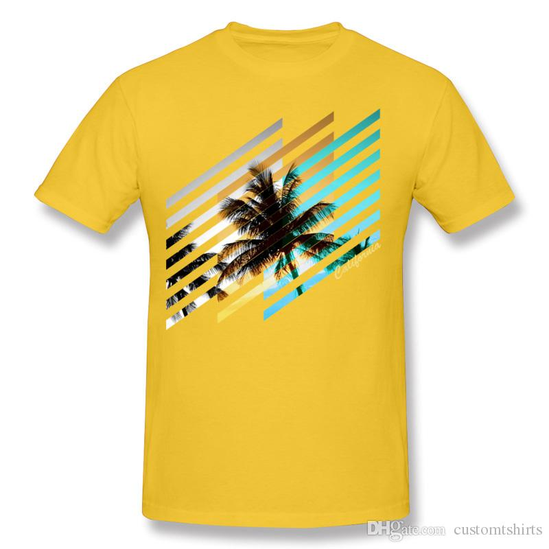 Ucuz Erkek% 100% Pamuk Kaliforniya Yaşayan T Shirt Erkek Ekip Boyun Beyaz Kısa Kollu Tee Gömlek Ekstra büyük Boy T Gömlek Baskılı