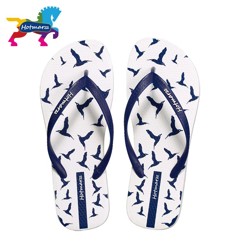 Hotmarzz Women Slippers Summer Flip Flops 2017 Beach Flat Sandals Animals Seagulls Print Fashion House Shoes Bedroom Ladies