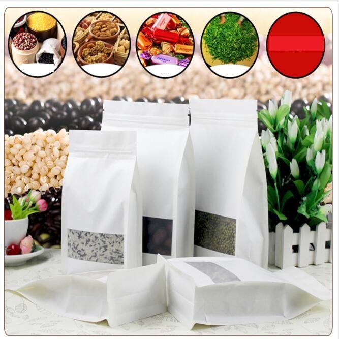 Bianco Kraft sacchetti dell'imballaggio carta alzarsi sacchetti di cibo finestra aperta snack caramelle di frutta secca al minuto del sacchetto di grande capienza sacchetto della valvola d'umidità