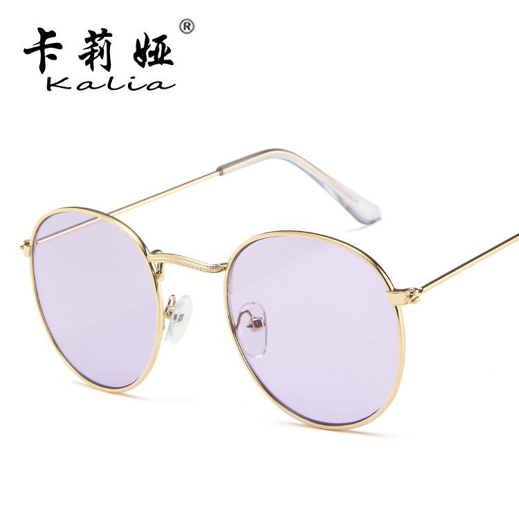 dd6158afd9f Europe And The United States Sunglasses Female Tide Round Frame Retro  Sunglasses Color Film Sunglasses Fashion Thin Face Glasses Wholesale Mens  Eyeglasses ...
