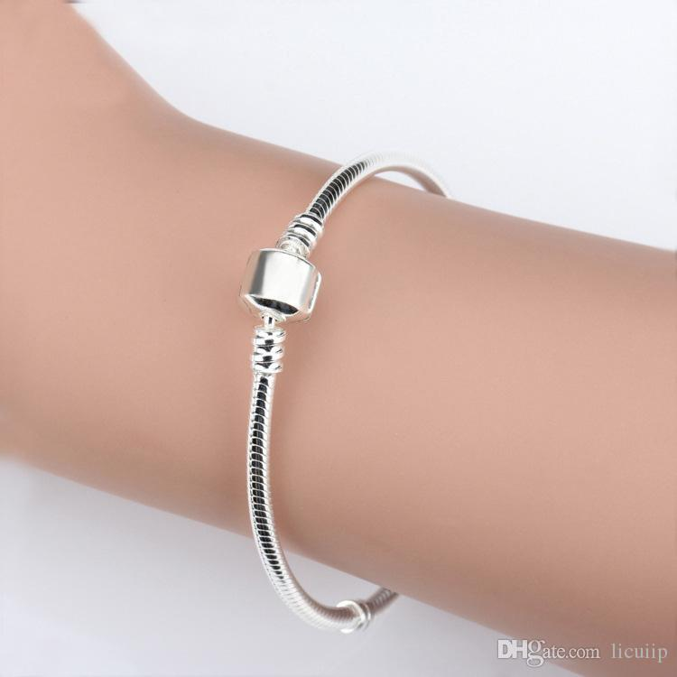 Comercio al por mayor 925 Pulseras de Plata Esterlina 3mm Cadena de Serpiente Pandora Charm Bead Bangle Bracelet DIY Regalo de La Joyería Para Hombres Mujeres