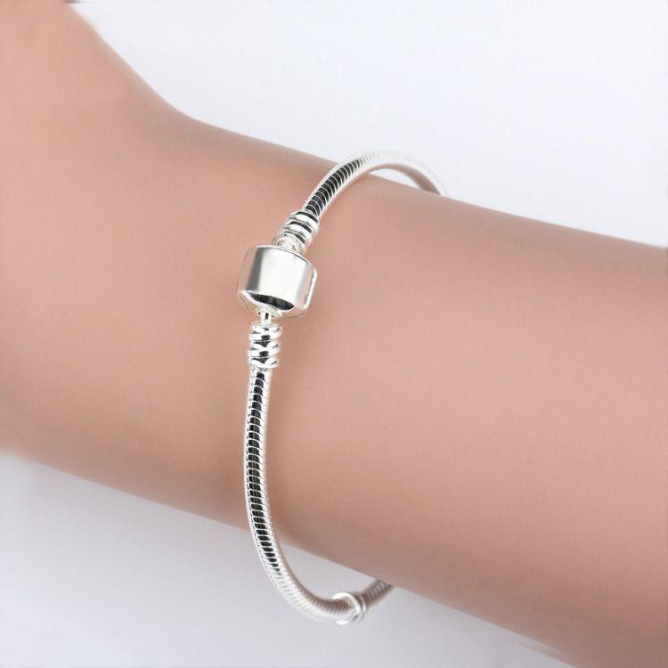 Venta al por mayor 925 pulseras de plata esterlina 3mm Cadena de serpiente Fit Pandora Charm Bangle Bangle Pulsera DIY Joyería Regalo para hombres Mujeres