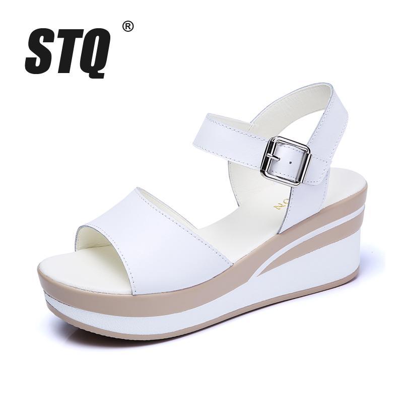 cf0352888 STQ 2018 Women Sandals White Flat Sandals Low Wedges Summer Women Open Toe  Platform Sandalias Ladies Gladiator Sandals 8626 Canada 2019 From Bking