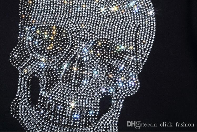 Новое лето Tide Марка хлопок Короткие Fit тонкий вскользь Mens Tee Печать 3D Skulls Rhinestone Desinger MENS футболки качества хлопка