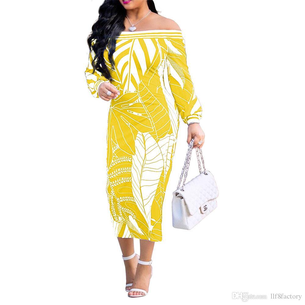 71199e34b387e Satın Al Yeni Tasarım Seksi Off Omuz İnce Kişilik Baskı Moda Avrupa Ve  Amerikan Uzun Kollu Sarılmış Göğüs Elbise, $24.12   DHgate.Com'da