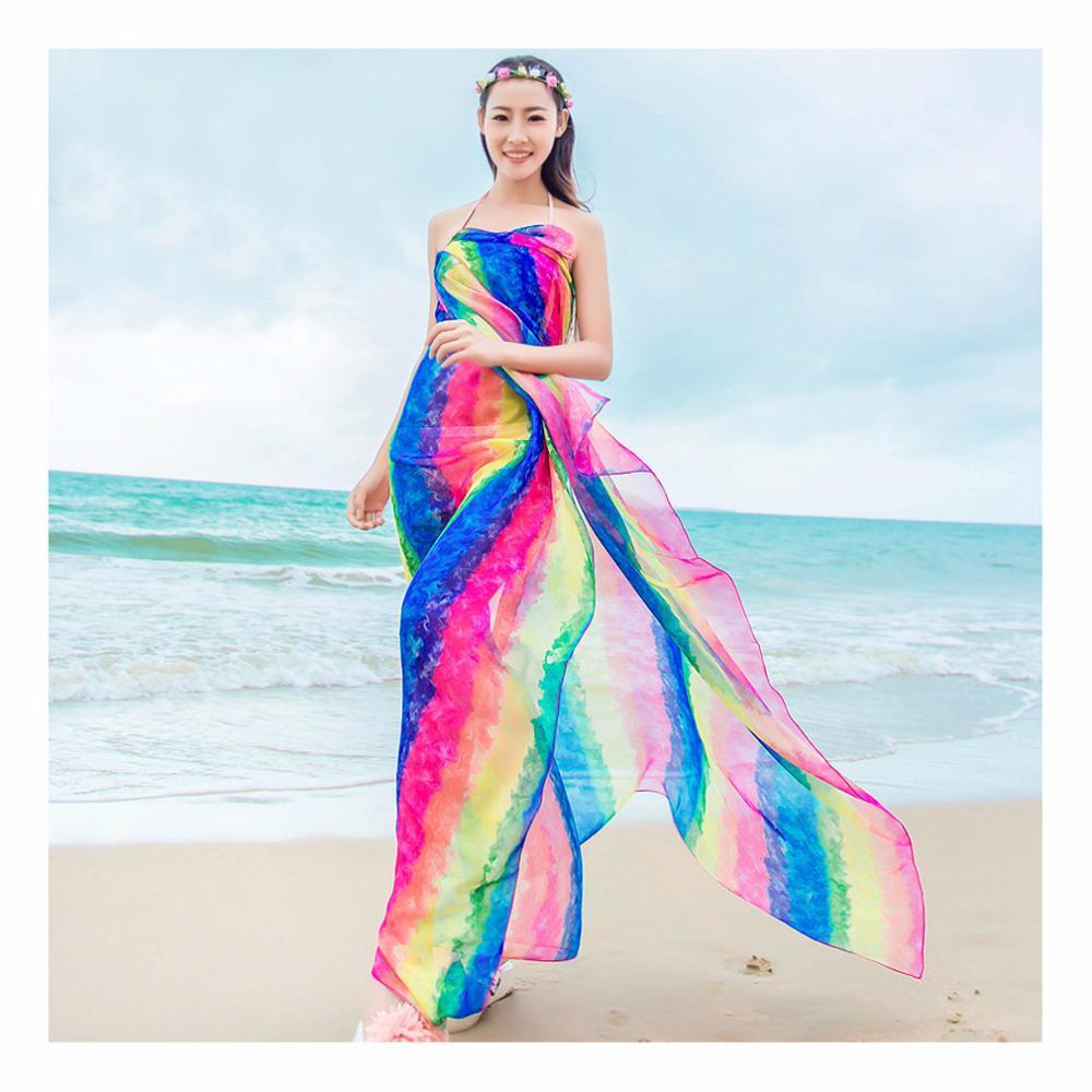 6eb2d57f150 2019 Summer Scarf Women S 150 180cm Long Pareo Scarves Striped Rainbow Print  Chiffon Hijab Bikini Cover Up Beach Sarongs Wrap From Jessibinstore