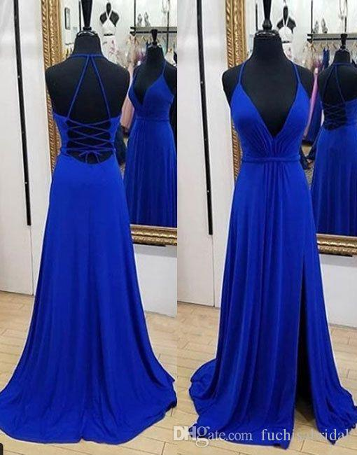 14137335d2e9 V Neck Long Royal Blue Chiffon Prom Dress With Slit Floor Length Simple  Prom Gown With Tie String Back Custom Made Formal Occasion Dress Long Prom  Dresses ...