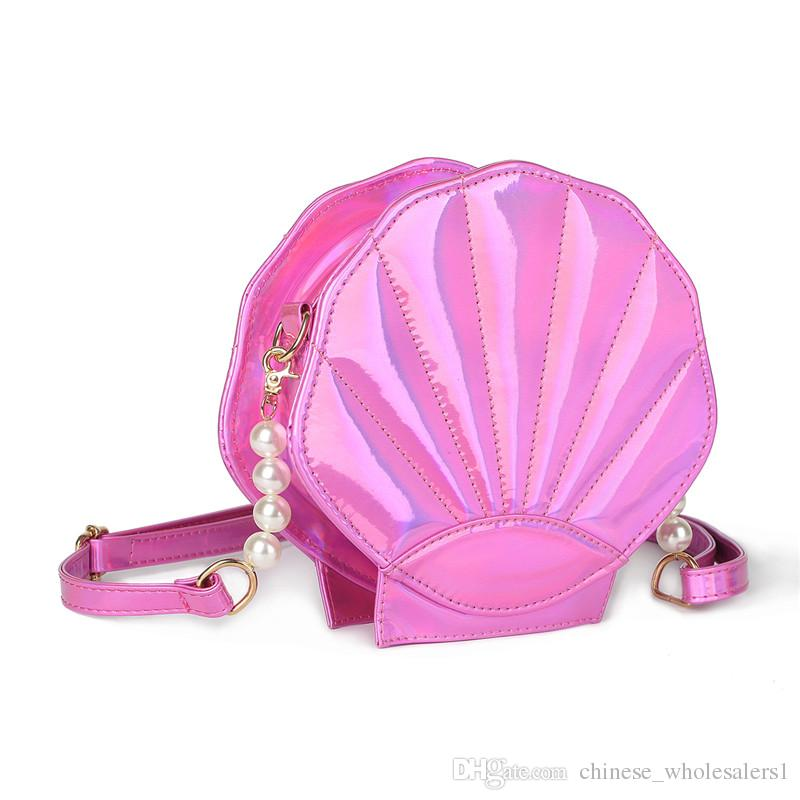 77e3d587d743 Free Shipping Lovely Laser Lolita Handbag Leather Women Shoulder Bag Sea  Shell Shaped Girls School Messenger Crossbody storage Purse Bolsas