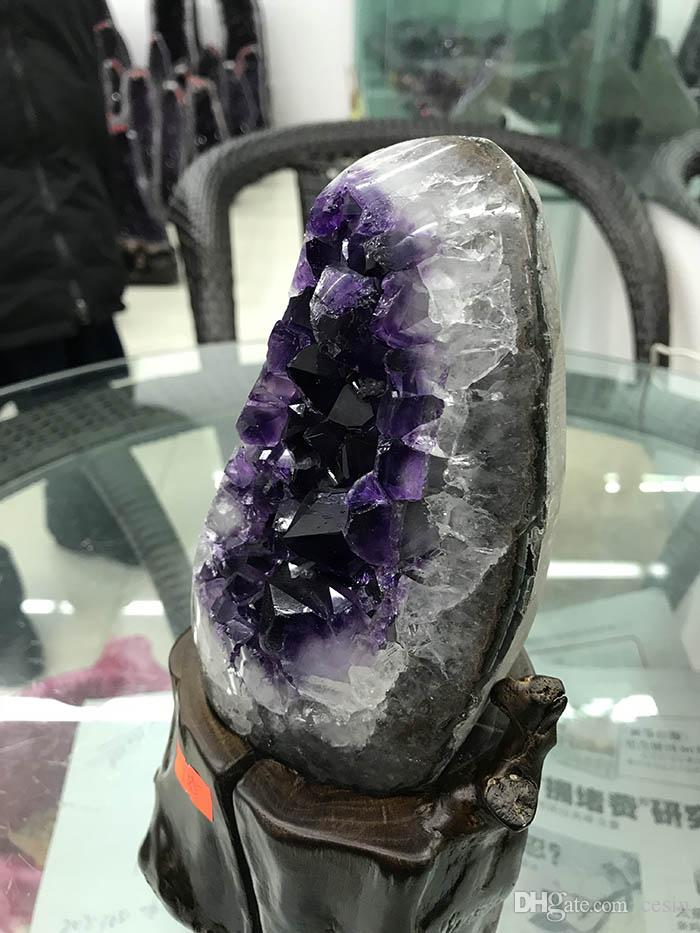 Uruguayan Natural Amethyst Geode Purple Crystal Amatista Voog Clusters With wood base raw rough stone decoration Shemist Drusy Crafts