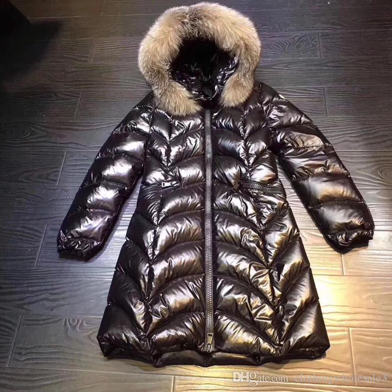 Luxury Womens Brand Down Parka with Real Fox Fur Collar Hooded Winter Double Zipper 90% White Goose Down Long Coats Slim Black Sale