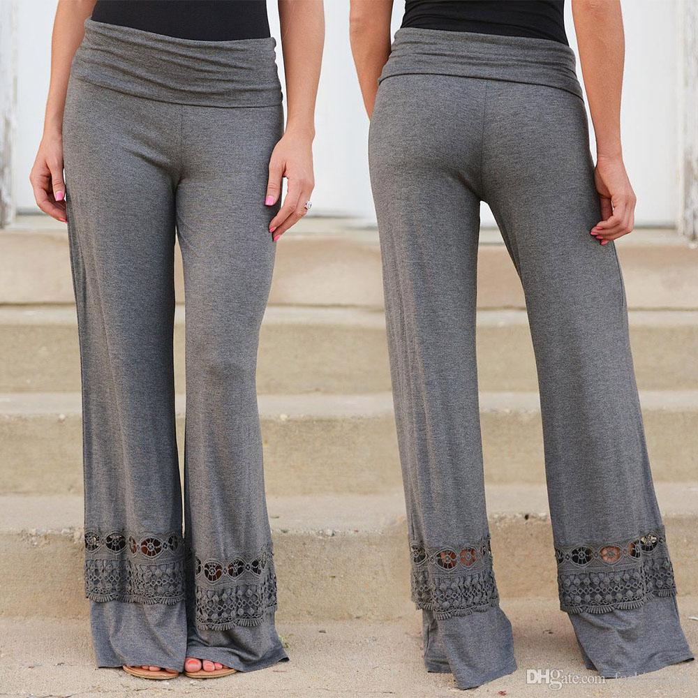 3714a53e2a Compre Envío Libre Elegante Casual Yoga Deporte Pantalones De Algodón Con  Encaje Pantalones Pantalon Mujeres Sueltas Pantalones De Pierna Ancha Para  Mujer A ...