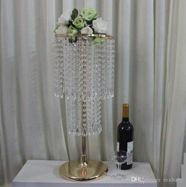 Centro de Casamento de ouro / Prata Acrílico Bead Strands 60 cm de Altura De Cristal De Acrílico Suporte De Flor Para A Decoração Da Tabela Do Casamento