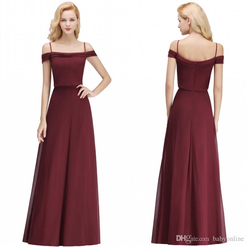 9854b5b574f Babyonline Designed New Bridesmaids Dresses A Line Burgundy Chiffon Off  Shoulder Evening Prom Gowns Cheap Custom Made BM0036 Cheap Junior  Bridesmaid Dresses ...