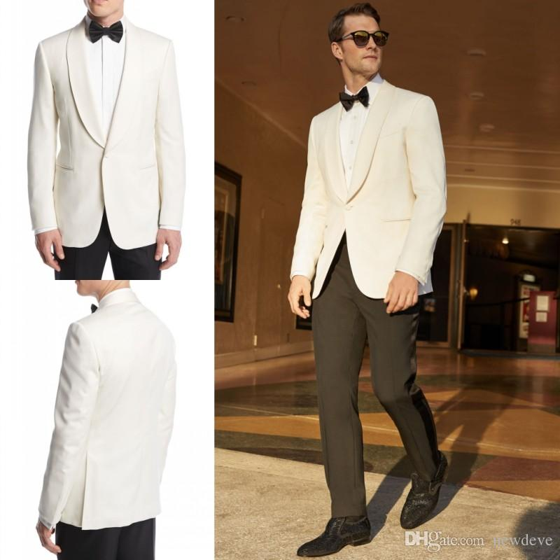 6540b53070f1 Two Pieces White Jacket Black Pants Tuxedos Custom Made Wedding Suit For Men  High Quality Groom Formal Wear Black Mens Clothes Black Suit Jackets From  ...