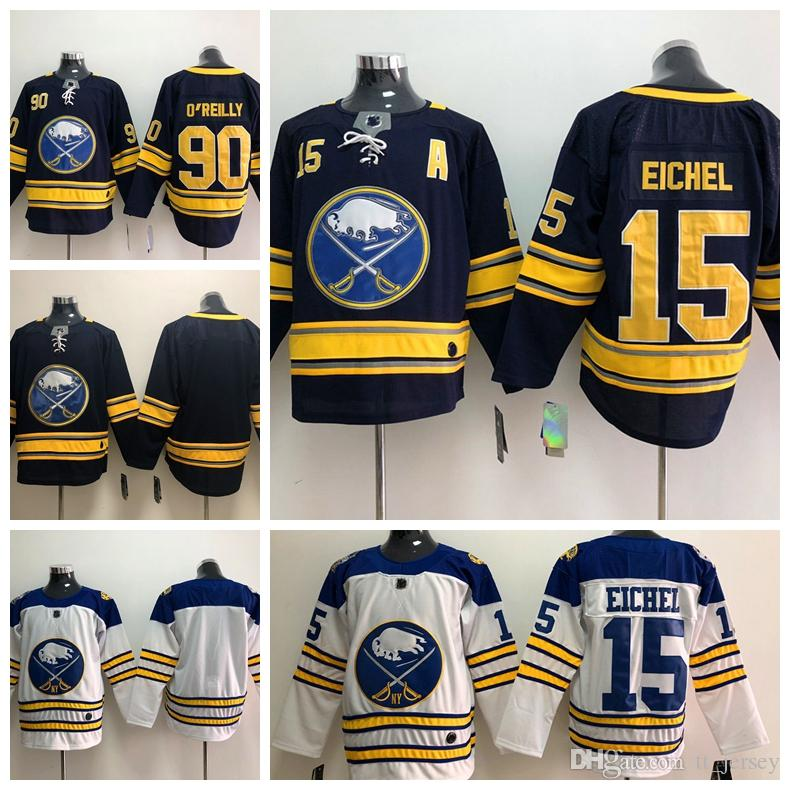 new product 6a73c 1e898 New Cheap Men s Buffalo Sabres 15 Jack Eichel Jersey 90 Ryan O Reilly  OReilly Blank Stitched Navy Blue White Hockey Jerseys Drop Shipping