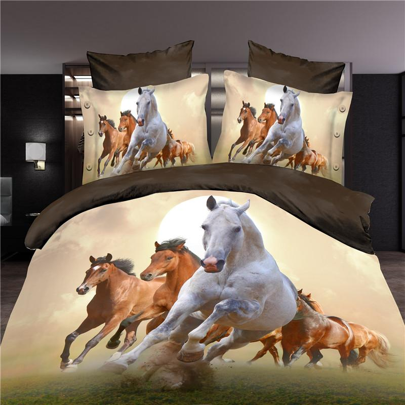 NEW Satin Cotton 3D Flower Horse Leopard Monroe Rose Bedding Sets Bed Sheet Set Bedclothes Duvet Cover Set 4PCS Bedding