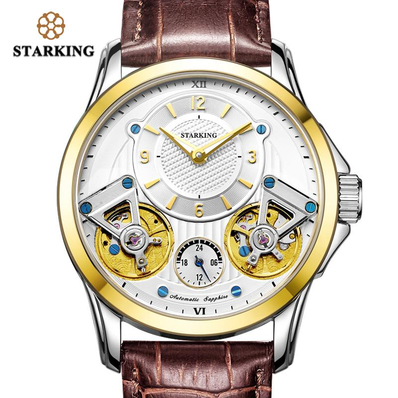 2755210ec STARKING Men Watches Top Brand Luxury Double Leather Mechanical Watches For  Men Waterproof Hind Wind Steel Wristwatch High Quality Watches Watches For  Less ...
