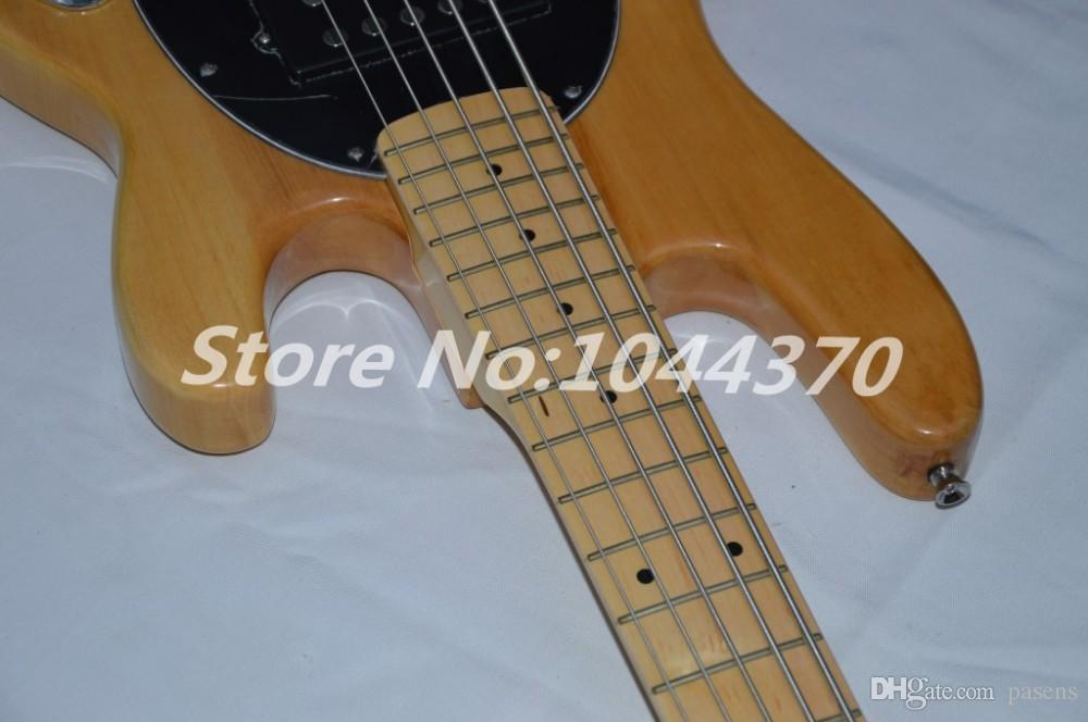Wholesale 5 strings bass Natural wooden Music bass natural stingray with black pick guard electric bass HOT 2018
