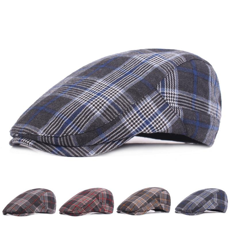 Fashion Unisex Plain Cotton Plaid Ivy Hat Adjustable Peaked Cap Men Women Newsboy  Caps Flat Driving Cabbie Cap Berets UK 2019 From Gslyy0712 c53c772ba3a2