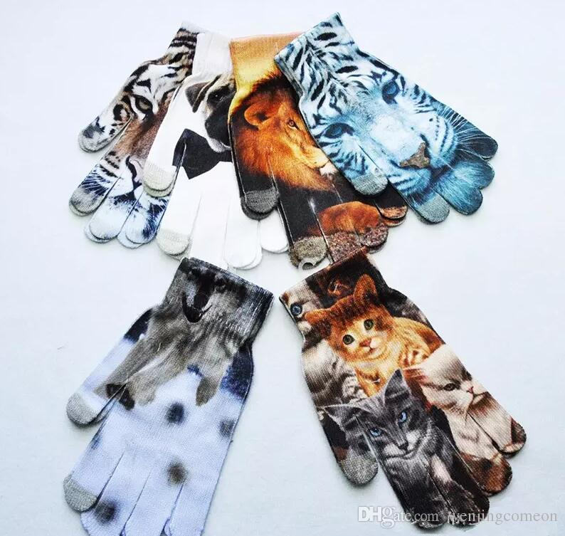 New Winter keep warm Women Men Touch Screen Soft Cat dog fruit cake 3D printing gloves and hot stamping touch gloves