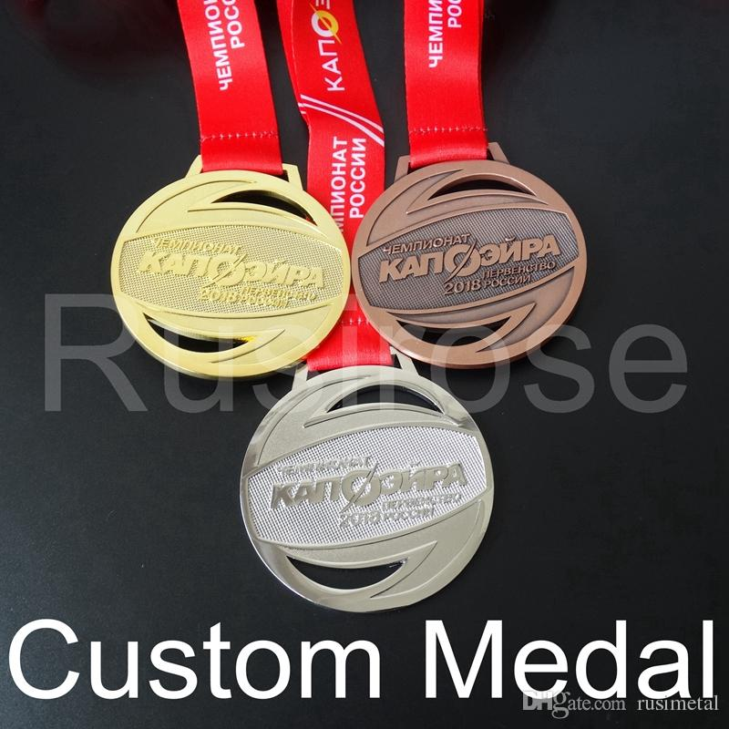 Custom gold silver run medal,personalized Antique bronze honor runner sport  medals,City Game Competition club award medal ribbon