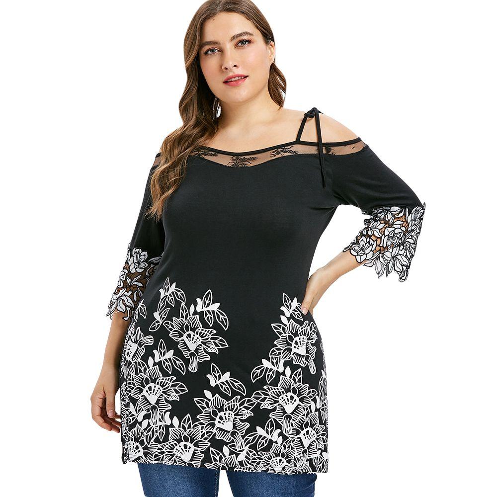 313f5178c7e540 Wipalo Plus Size Tie Shoulder Floral Lace Appliques T Shirt Three Quarter  Sleeve Cold Shoulder Ladies Tops Big Size Women Cloth Buy Online T Shirts  Make Tee ...