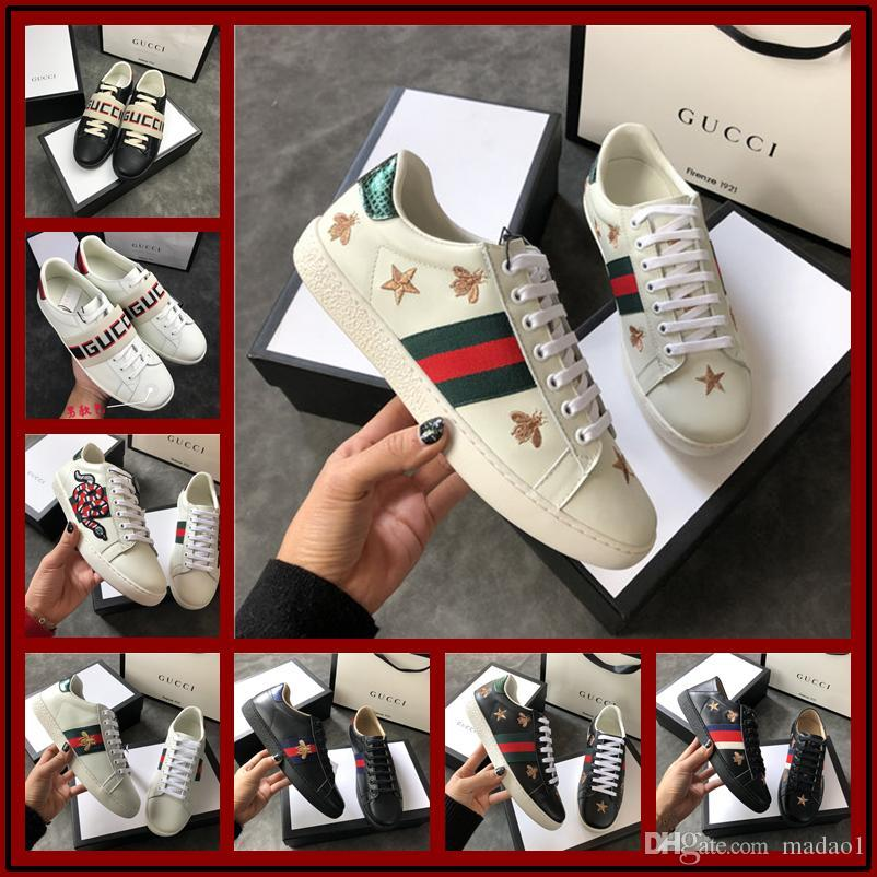 53819beb6 Original Luxury Original Embroidery Bee Snake Flower White Sneaker Designer  Original Box Mixed Colors Woman Casual Shoe Outdoors Show Shoes Cute Shoes  Mens ...