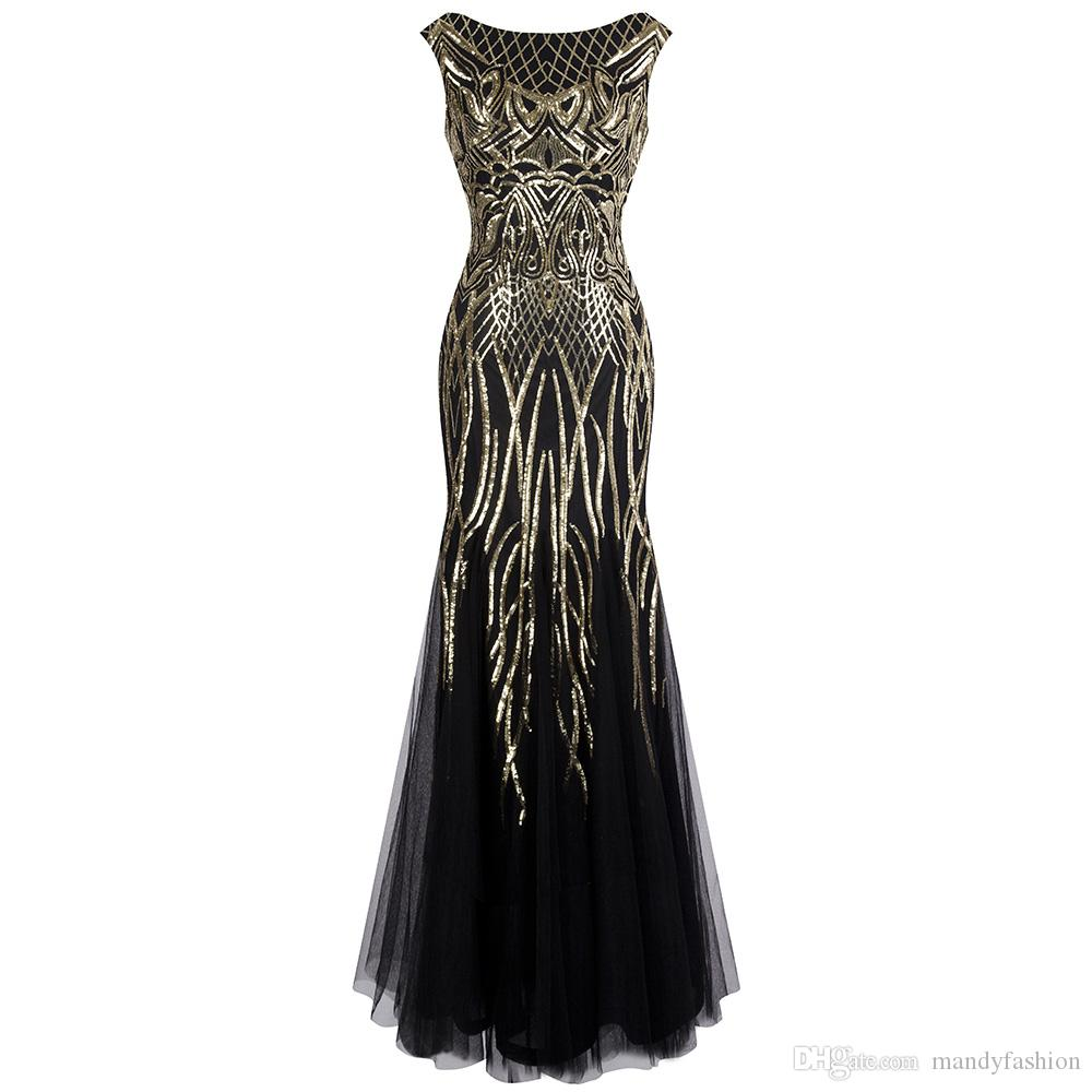 Angel-fashions Women's Pattern Sequin Bateau Cap Sleeve Flapper Mermaid Evening Dress Party Dresses Prom Gown Black Gold 377