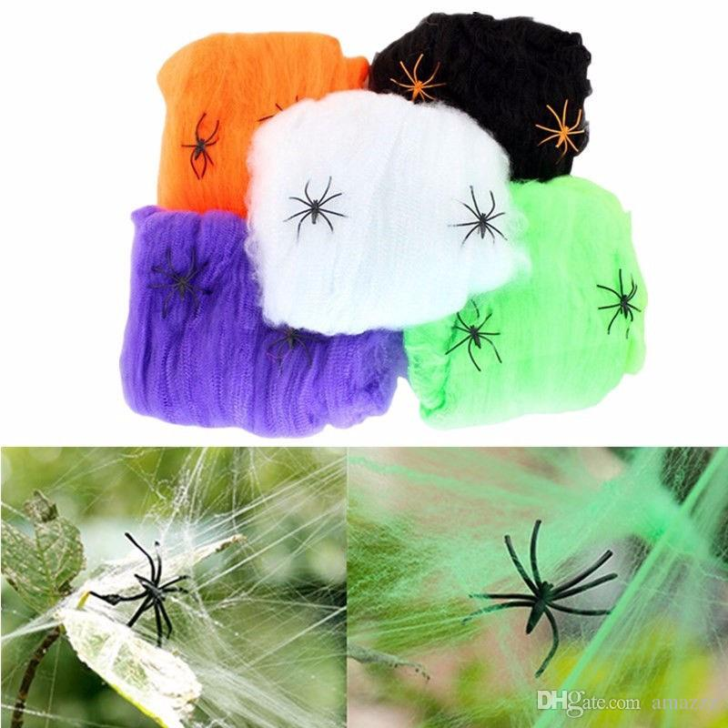 2018 Halloween Scary Party Scene Props White Stretchy Cobweb Spider Web Horror Halloween Decoration For Bar Haunted House