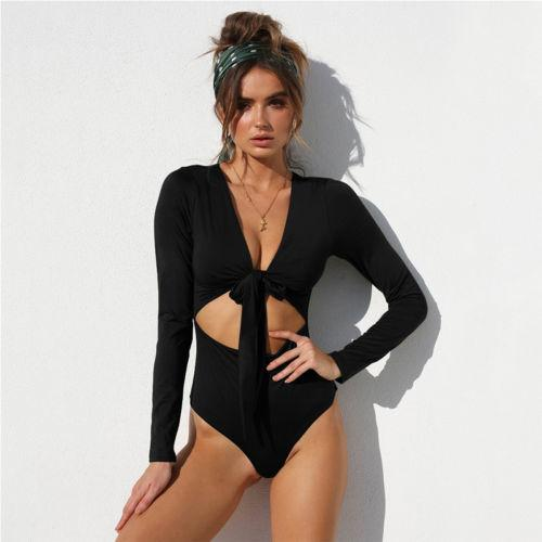 Women Bodysuit Leotard Top Romper Long Sleeve Solid Bodysuits V-neck Lace  Up Jumpsuit Playsuit Online with  34.44 Piece on Stephanie09 s Store  f763cef27