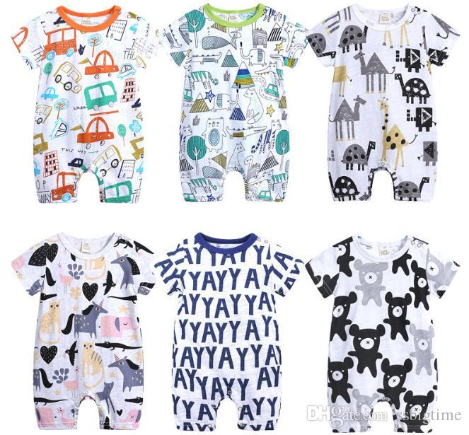 afdd4ba49870 2018 Boys Girls Baby Rompers Cotton Cartoon Newborn Onesies Clothing ...
