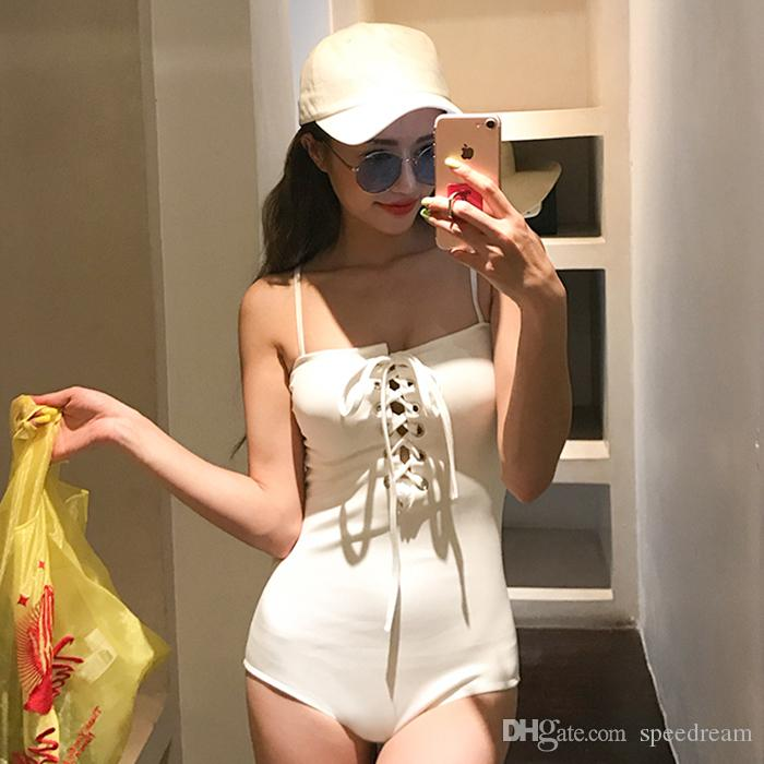 2019 NEW Brazilian S - L Black White Red lace up monokini bandeau swimsuit one piece bathing suit swim Bather beach female swimwear women