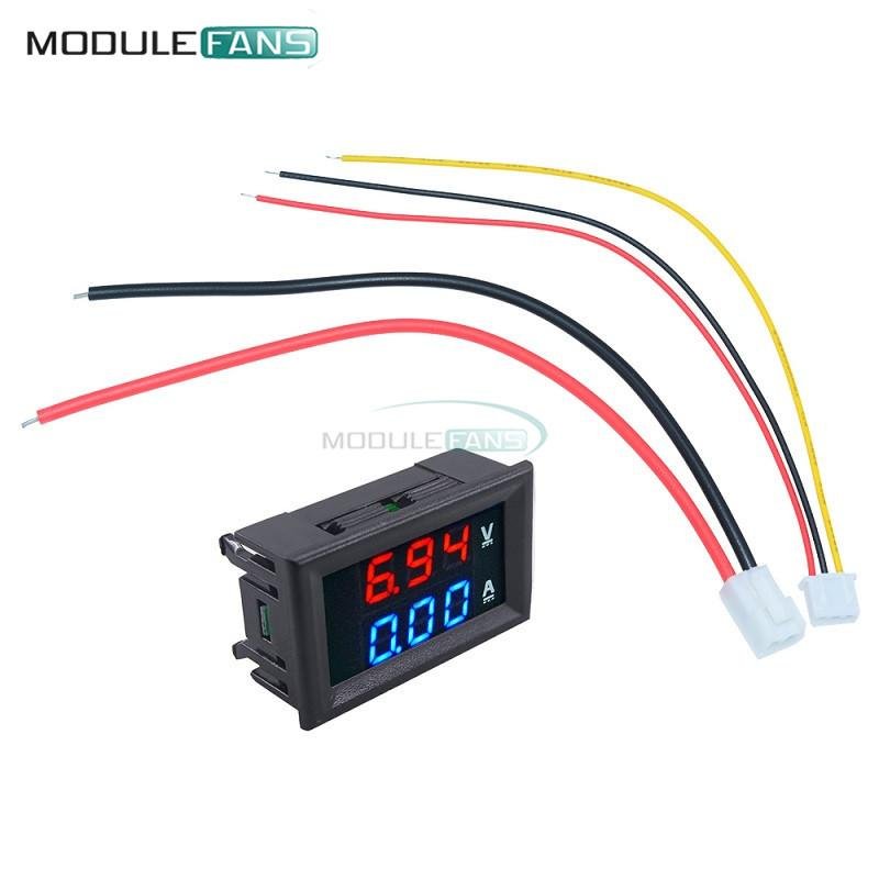 "0.28 inch Mini Digital Voltmeter Ammeter DC 100V 10A Panel Amp Volt Current Meter Tester 0.28"" Blue Red Dual LED Display 20mA"