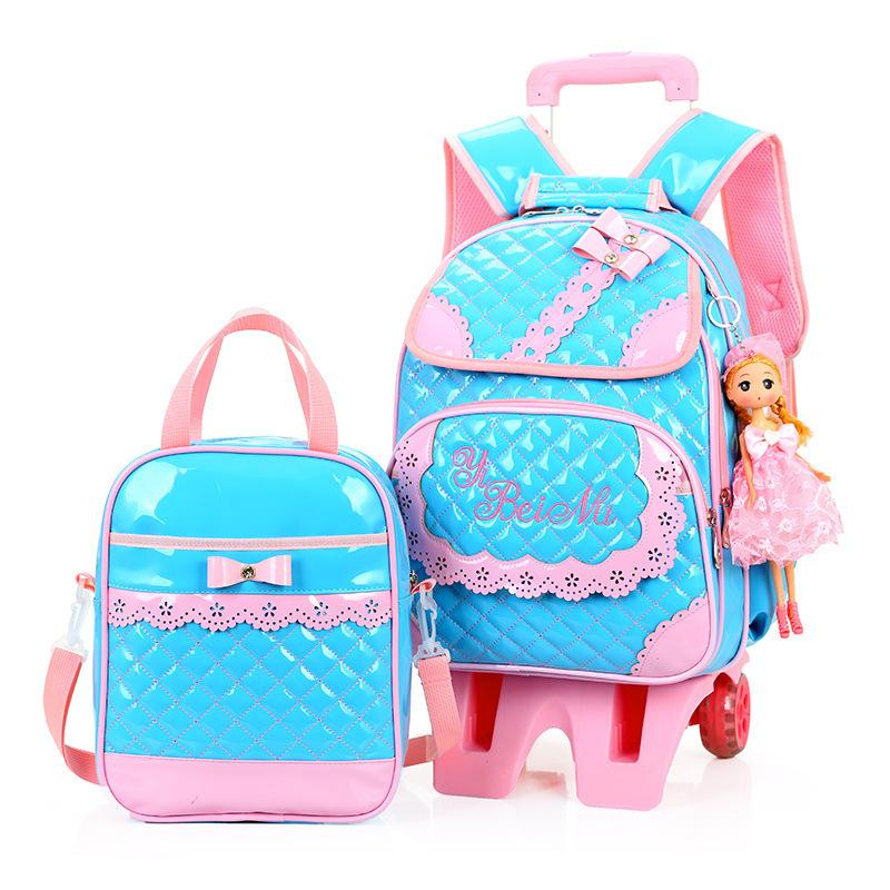 5a2ef81fc5 Princess Children Mochilas Kids School Bags With Six Wheel Trolley School  Bag For Girls Travel Orthopedic Backpack Detachable Sa Jansport Laptop  Backpack ...