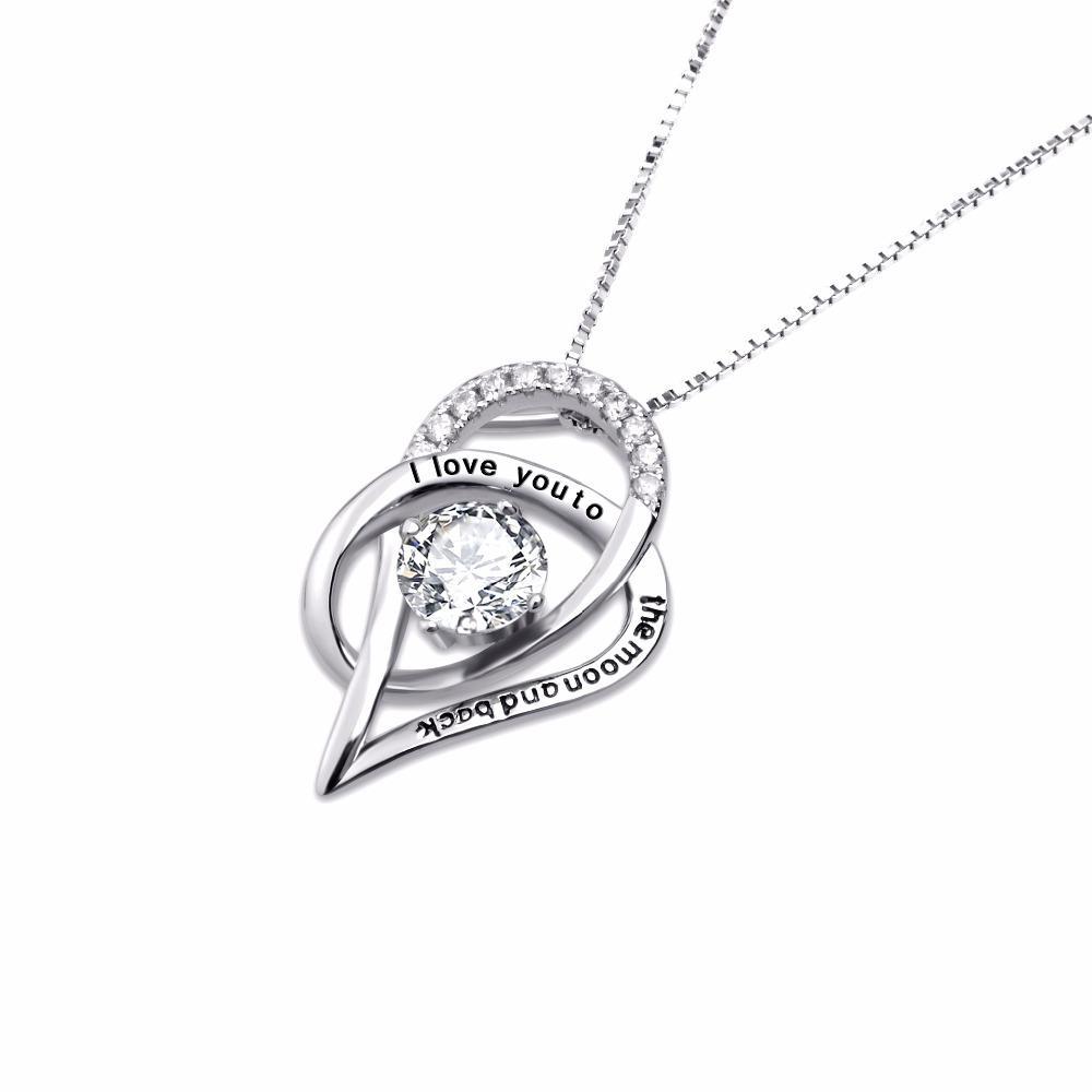 YFN 100% vero argento puro 925 Ti amo fino alla luna e ritorno CZ strass cuore pendenti collane donne choker