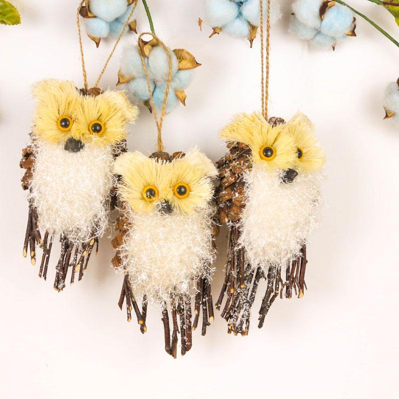6 2 Christmas Tree Decorations Natural Sisal Bird Pinecones