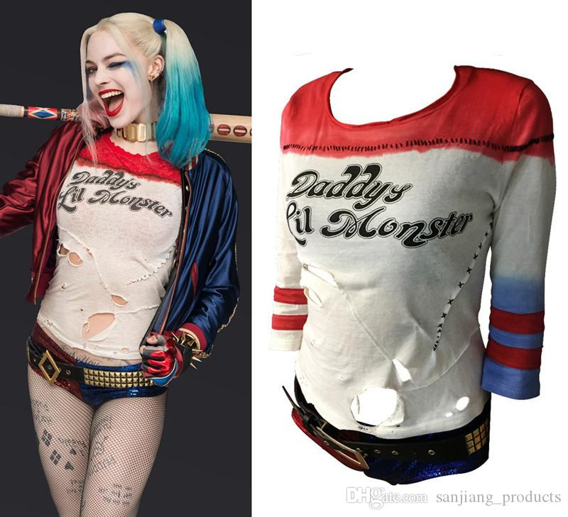 8941fd9d680af Women s Suicide Squad Harley Quinn T Shirt Ripped Rips Daddy s Lil Monster  Anime Long Sleeve T Shirts Batman Arkham Asylum Cosplay Costumes