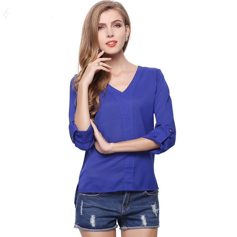 13251b31cb3 New Long Sleeve Chiffon Blouses Women s Shirt Elegant Formal Shirt ...