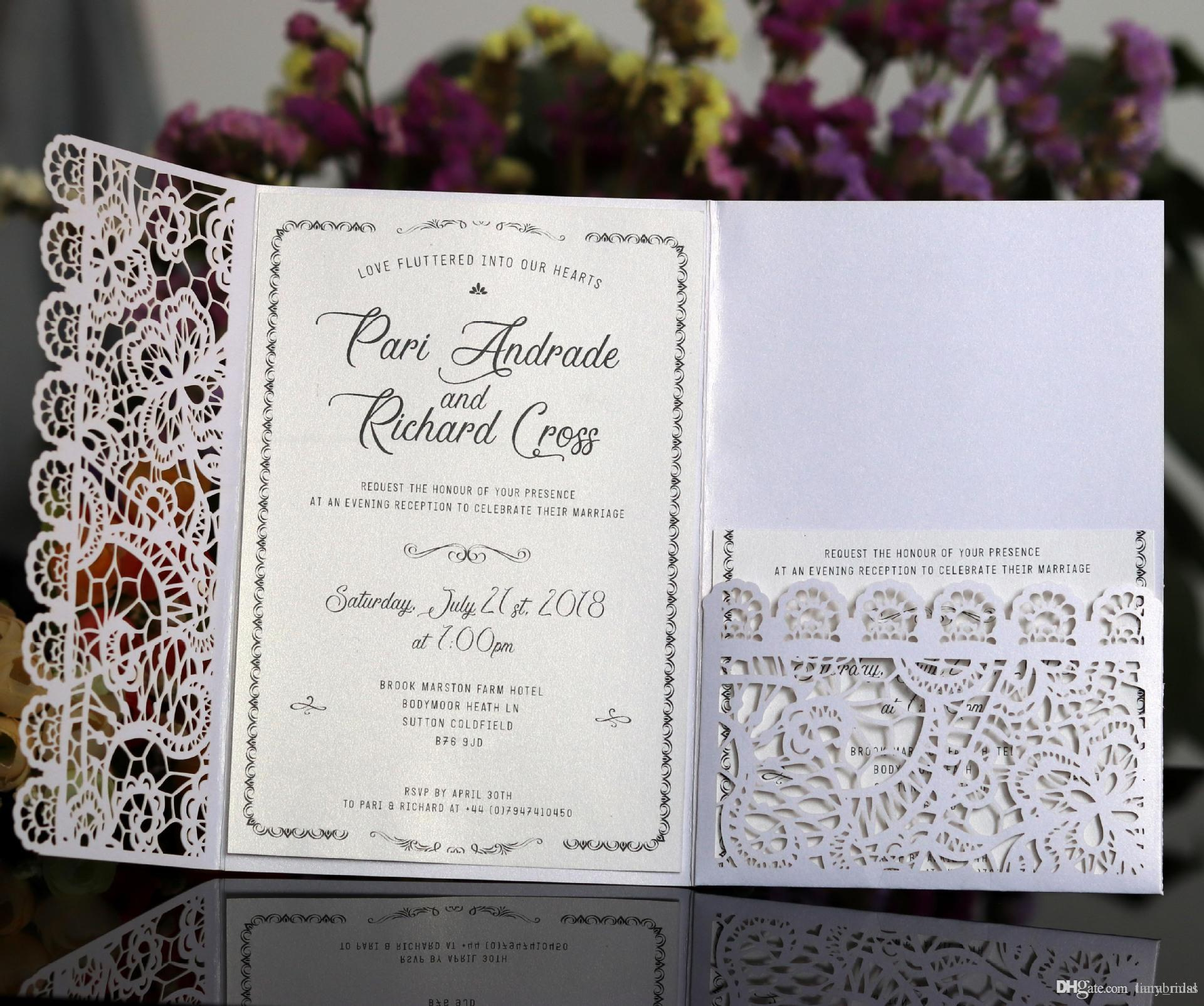 Horizontal Laser Cut Wedding Invitations Cards with