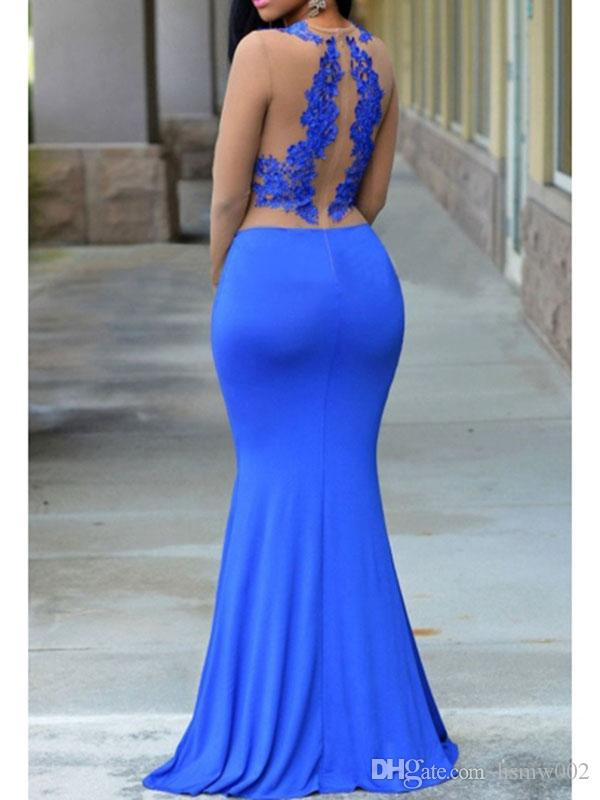 Sexy Illusion Long Sleeves Mermaid Prom Dresses Lace Applique Formal Long Sheath Prom Gowns O-Neckline Evening Party Dresses Custom Made