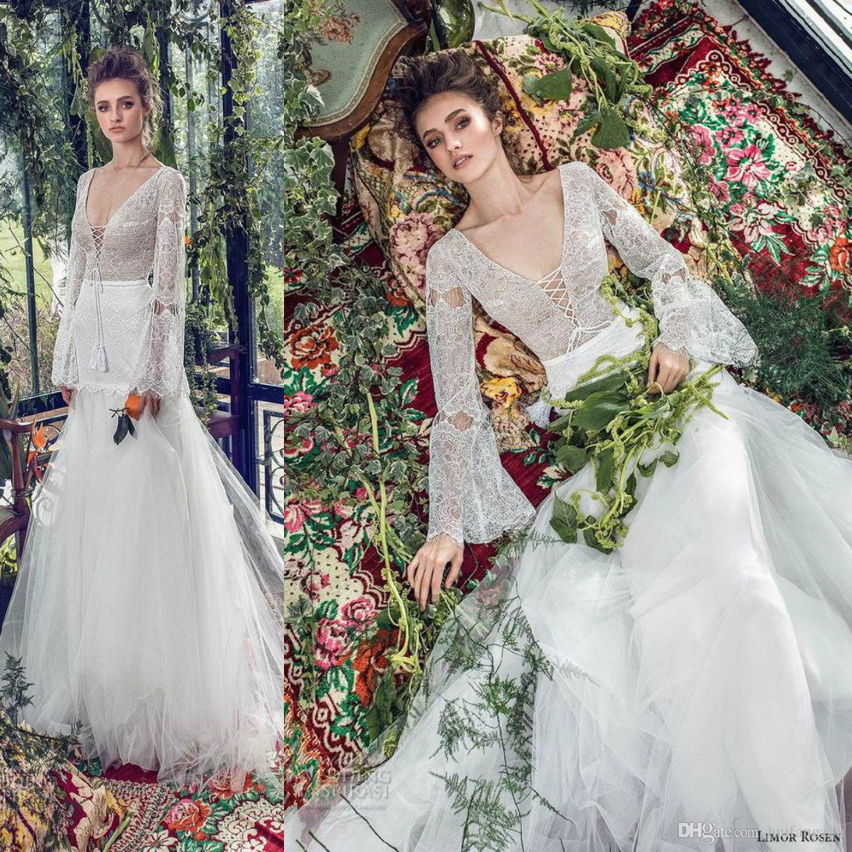 237f53711f Discount 2019 Spring Wedding Dresses Limor Rosen Long Sleeve Lace V Neck  Bohemia Wedding Dress Backless Tulle Sweep Train Bridal Gowns Custom Made  Ivory ...