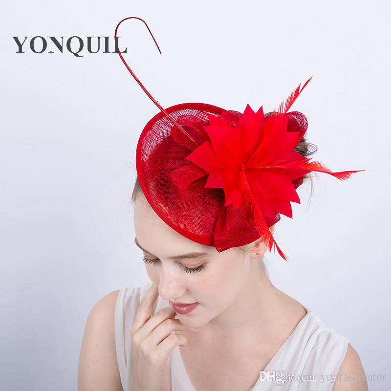 Select Red Fascinator Hats for Weddings Sinamay Church Party Hats ... 2a734cd6315