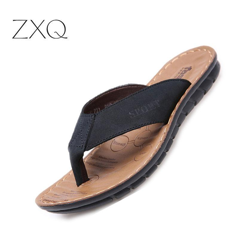 0aa60d53ca2220 Summer Casual Men S Flip Flops Flat Sandals Shoes Cow Split Leather Flip  Flops Beach Sandals Shoes Man Outside Shoe Buy Shoes Online Wedge Boots  From Haikee ...