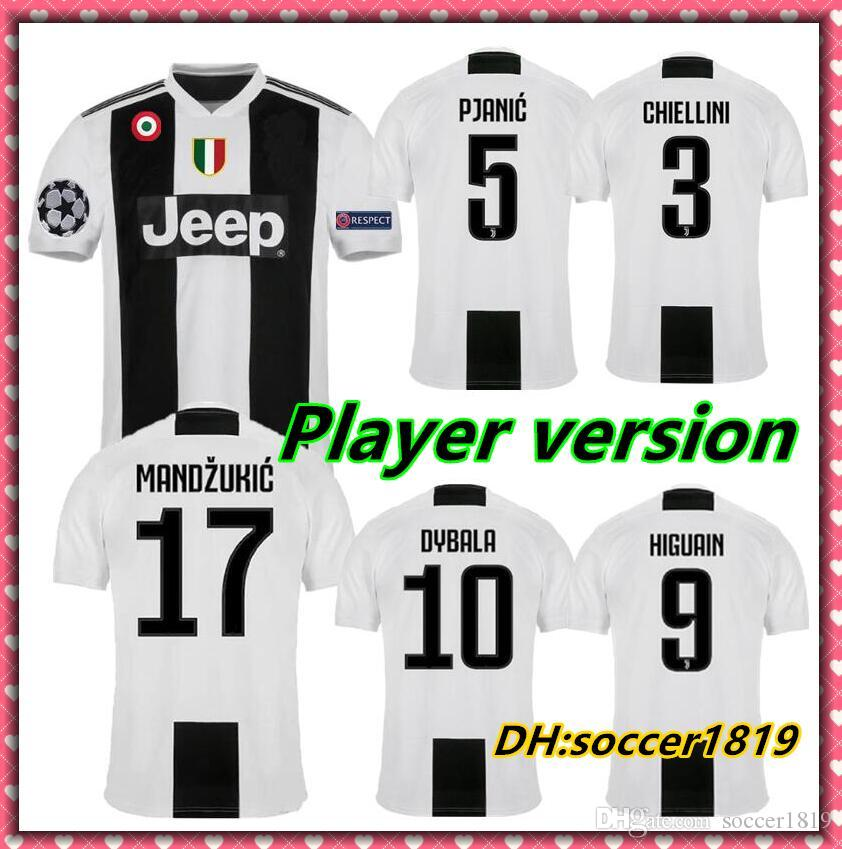 e66ec9c7b 2019 Player Version 2018 19 Juventus Dybala Ronaldo Pjanic Higuaín  Champions League Soccer Jerseys 2019 Futbol Camisa Football Camisetas Shirt  Ki From ...