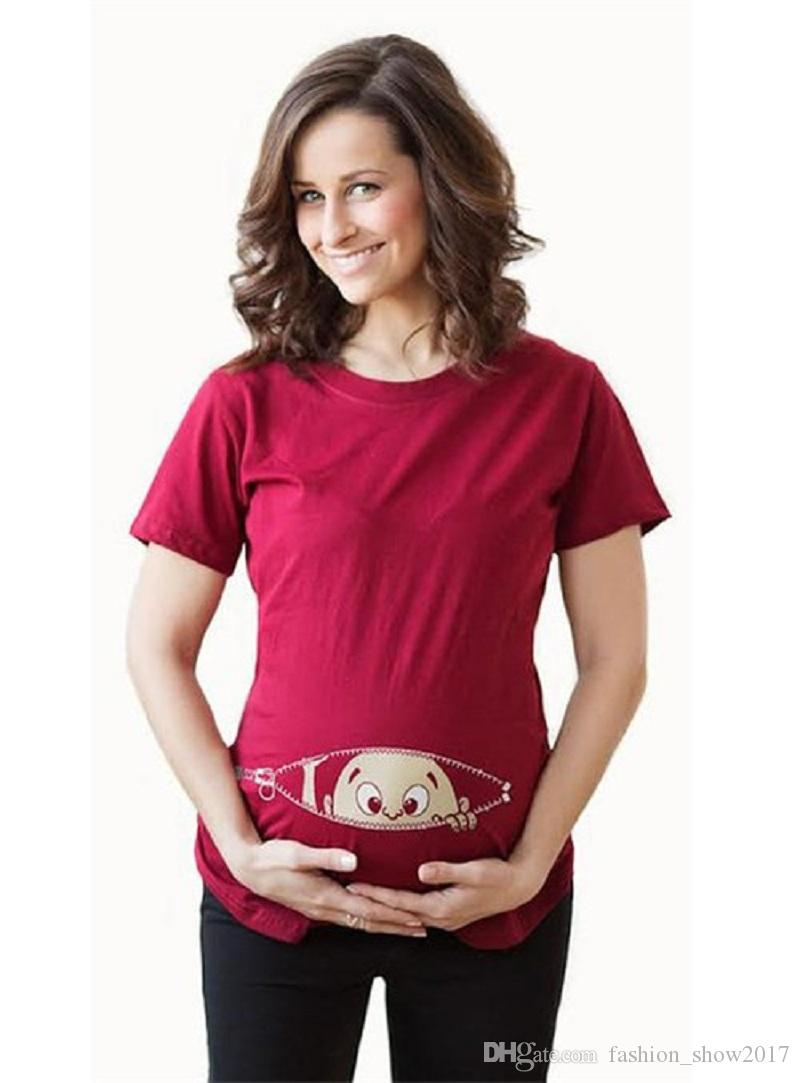 Lovely Summer Maternity Pregnancy T Shirt Women Cartoon Tee Baby Print Staring Pregnant Clothes Funny T-shirt
