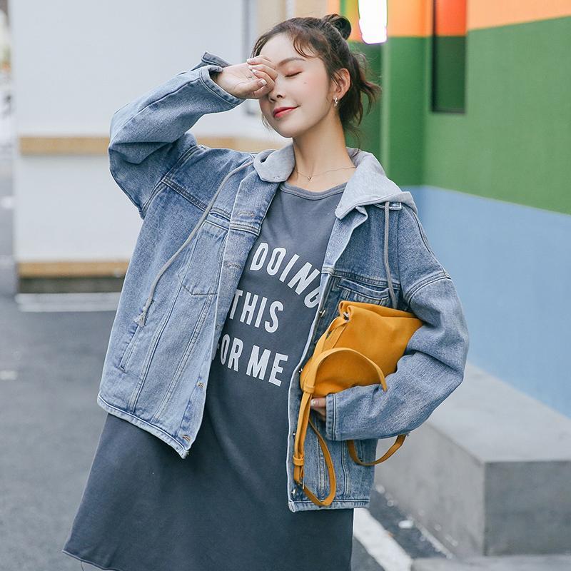 huge discount a7485 818f3 Giubbotto di jeans donna Outwear Cappotto di base femminile Femme Short  Jean Giacche con cappello Pantaloncini bomber casual
